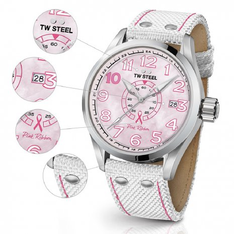 Ladies Sports Watch with Extra Pink Textile Over Leather Strap 秋冬款式 TW Steel